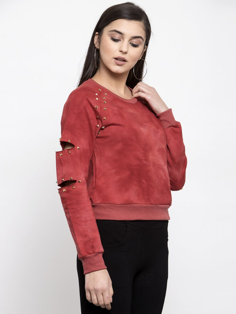 Women Solid Rust Round Neck Sweatshirt