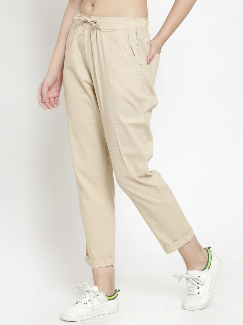 Women Beige Solid Tapered Fit Lower