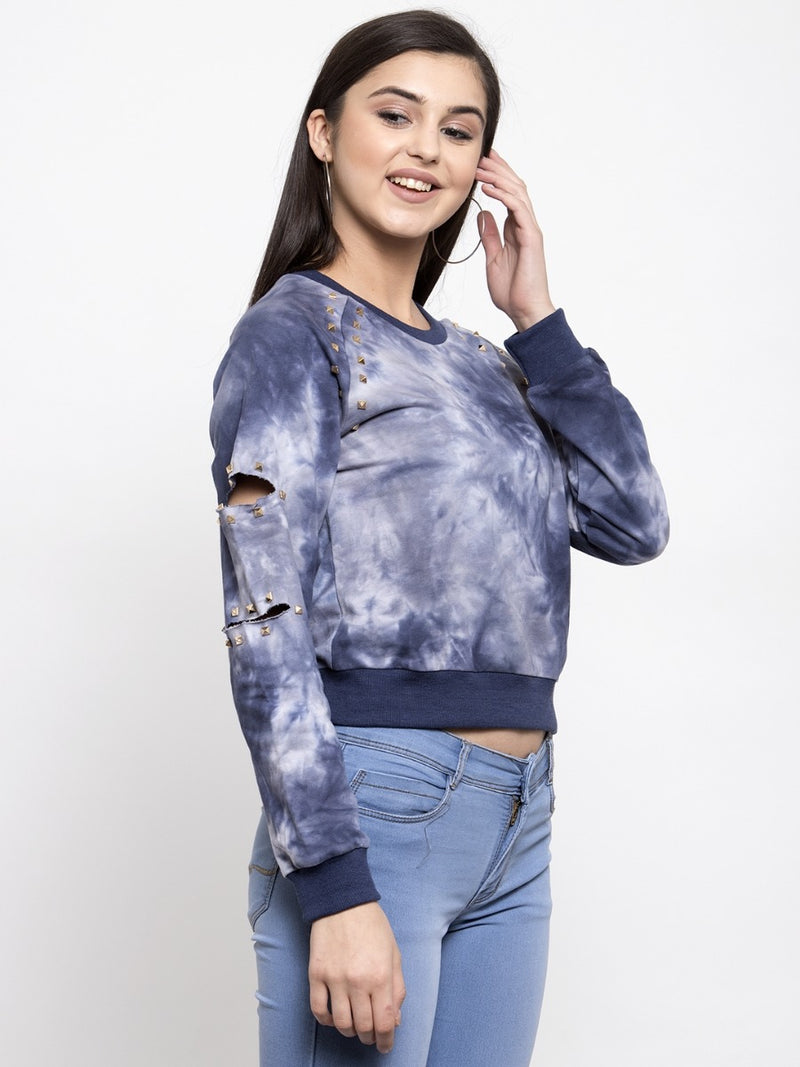 Women Solid Denim Round Neck Sweatshirt