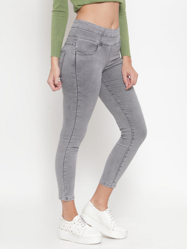 Women Solid Grey Denim Jeans