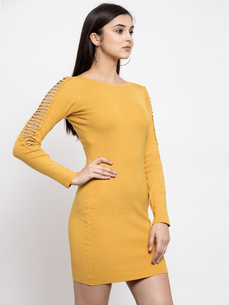 Women Solid Mustard Round Neck Dress