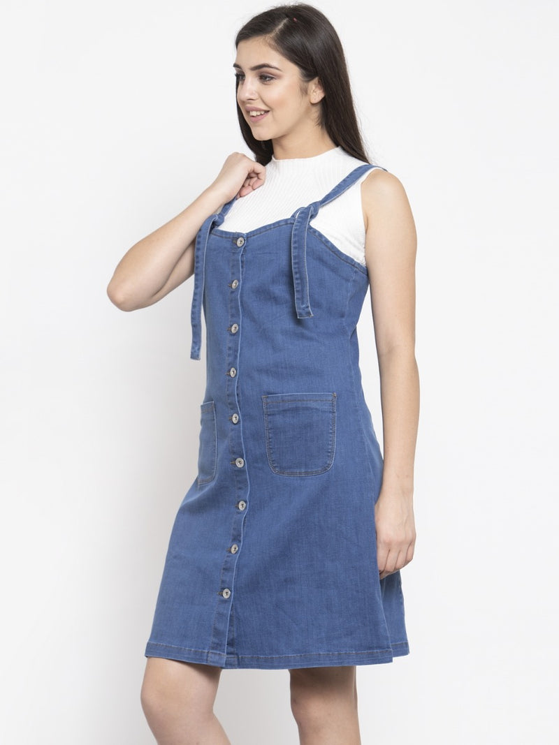 Women Dyed Blue Pinafore Dress