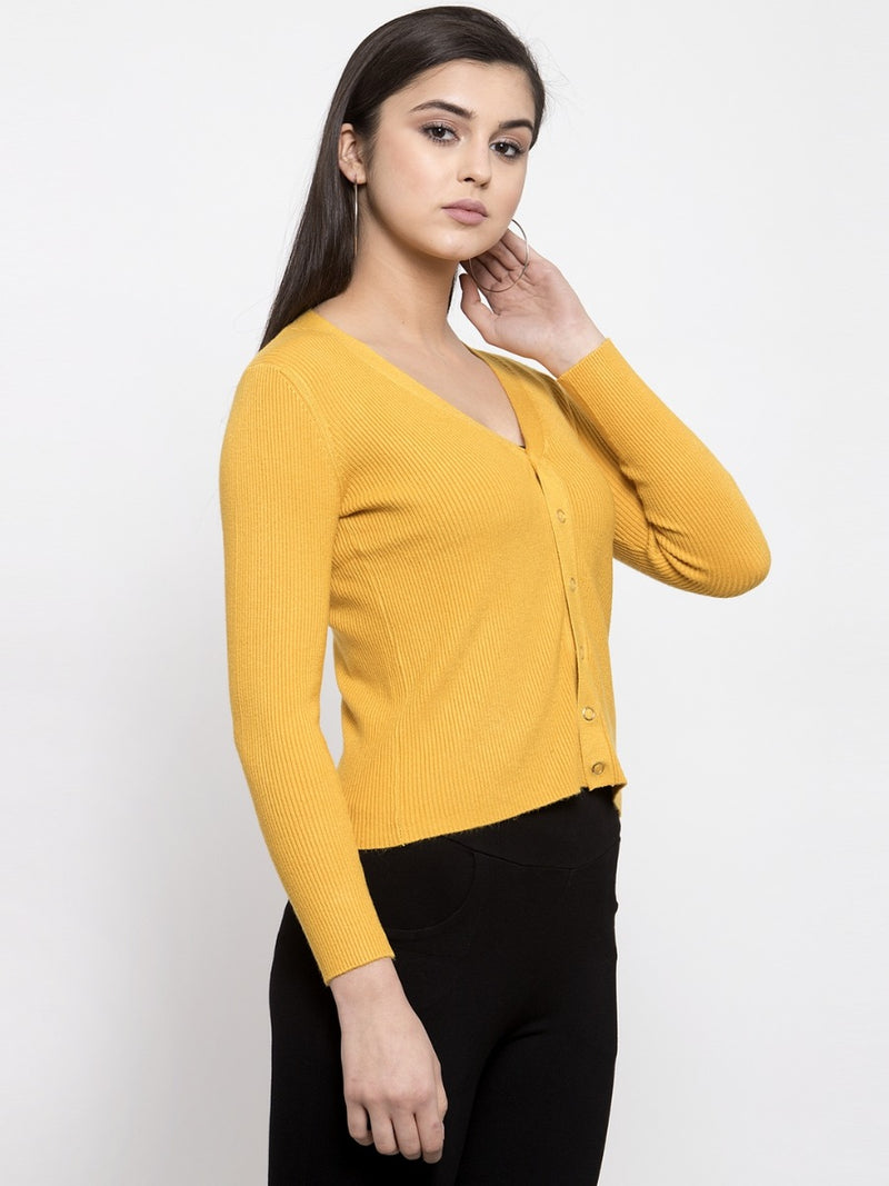 Women Solid Mustard Cropped Cardigan