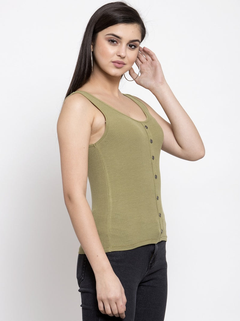Women Solid Green Scoop Neck Top With Placket