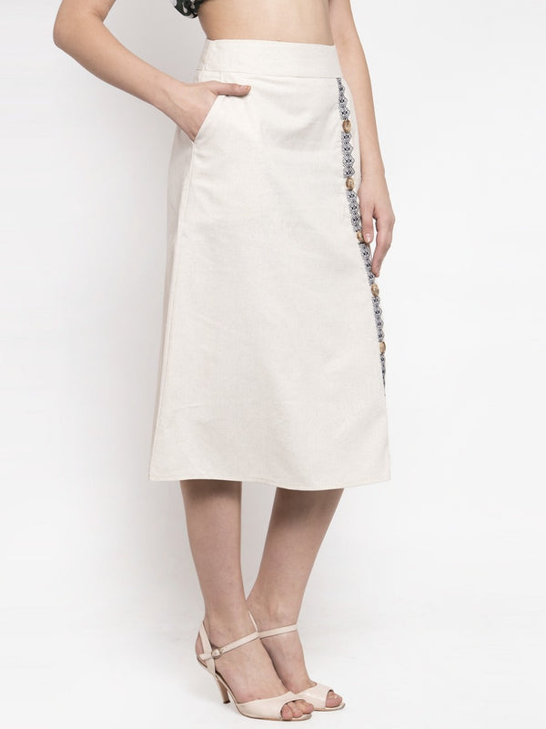 Women A-Line Beige Cotton Linen Skirt