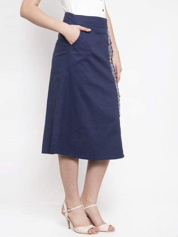 Women A-Line Navy Blue Cotton Linen Skirt