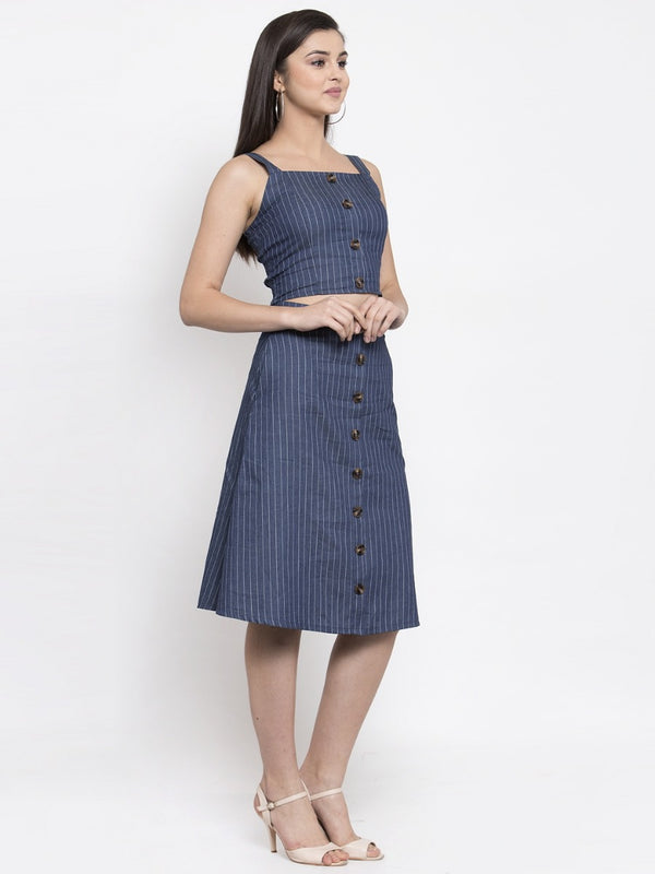 Women Striped Blue Set Of Skirt And Top