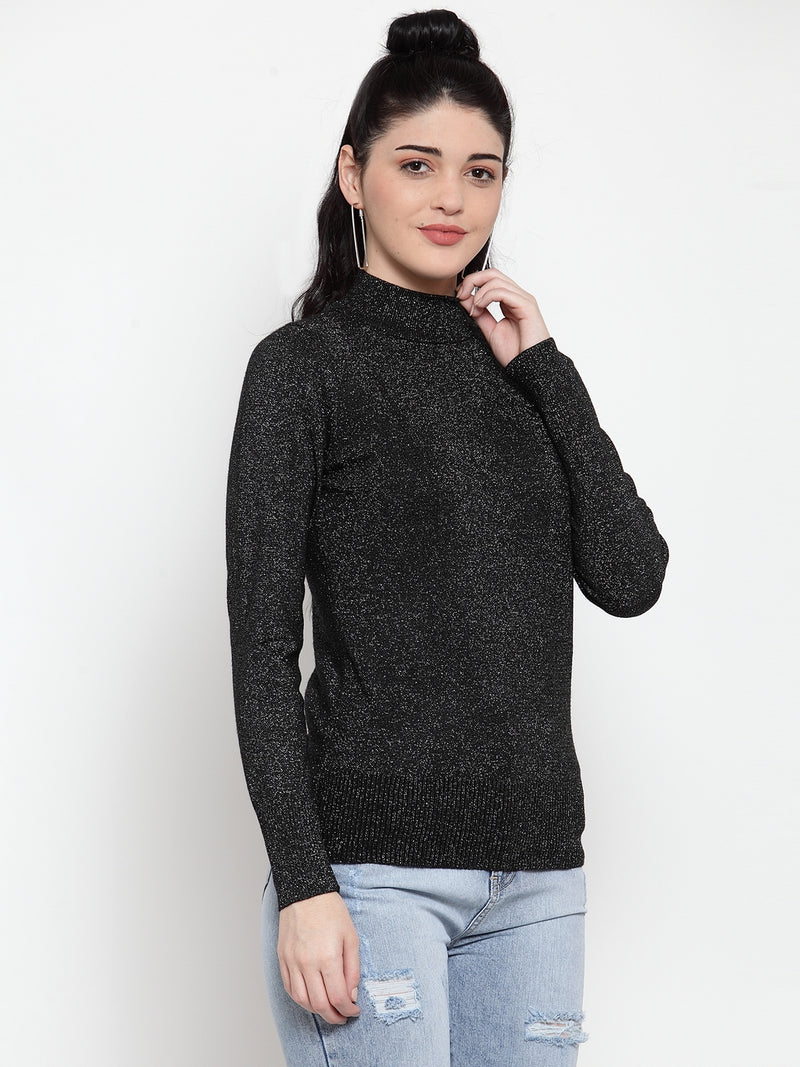 Women Black Silver Turtle Neck Full Sleeve Skeevi Pullover