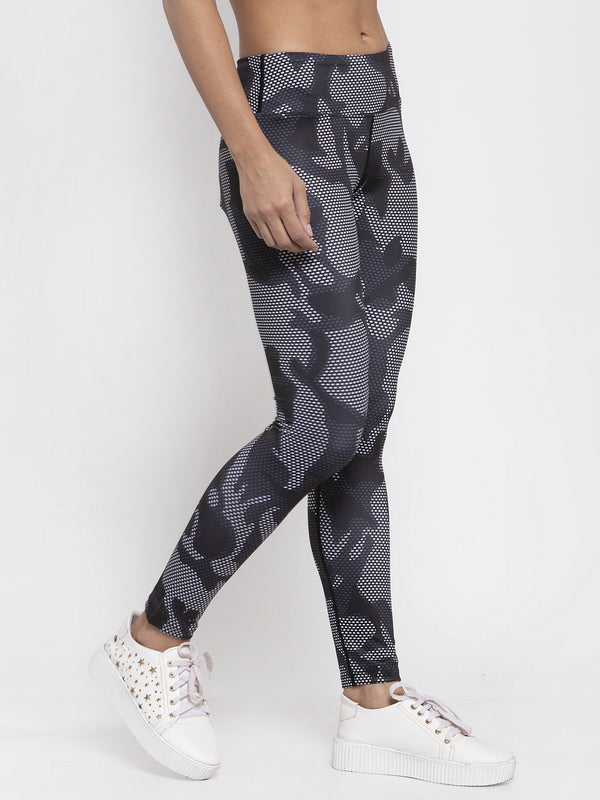 Women Grey Camo Printed Polyester Dri Fit Tights