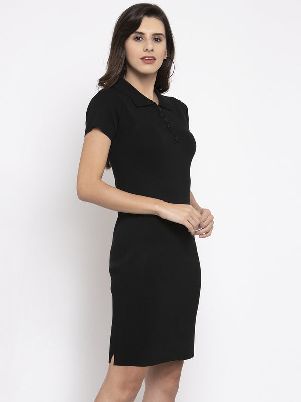 Women Solid Black Polo T-Shirt Dress