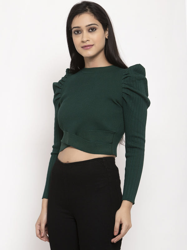 Women Green Solid Pullover