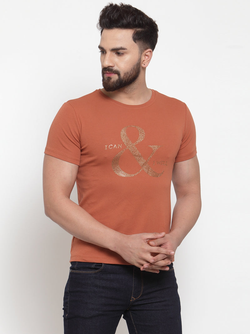 Mens Printed Tan Crew Neck T-Shirt
