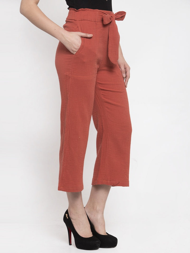 Women Solid Rust Polycotton Lower