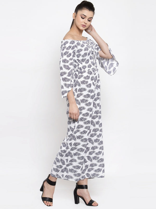 Women White Printed Off-Shoulder Jumpsuit