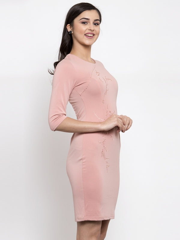 Women Embellished Pink Round Neck Dress