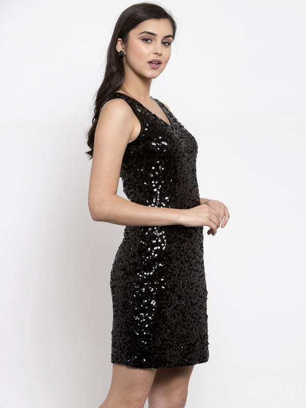 Women Sequinned Black Slim Fit Mini Dress