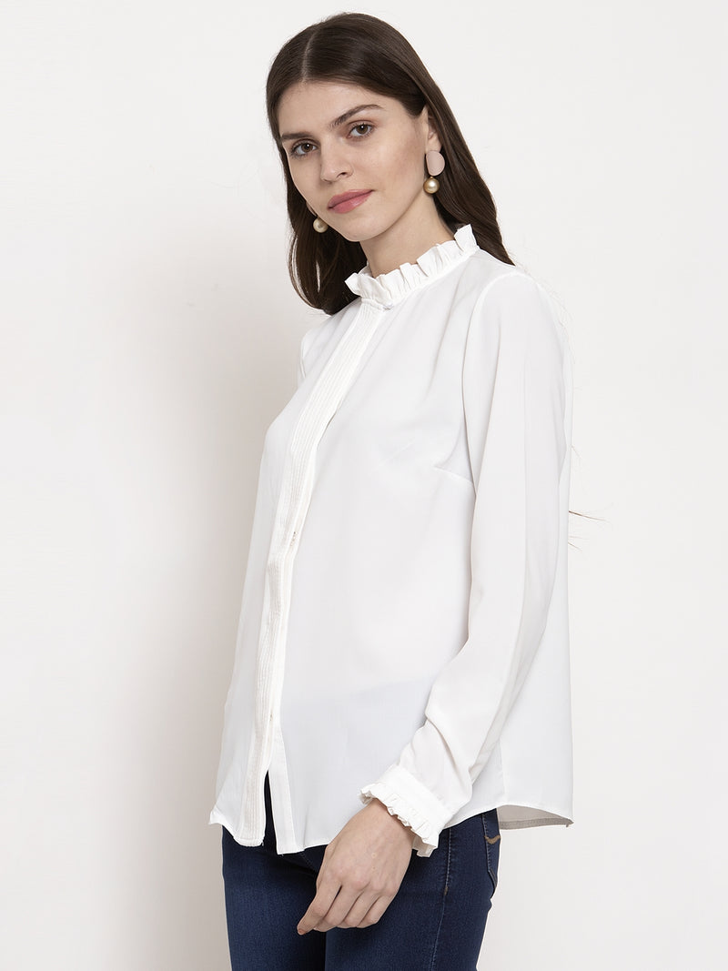 Ladies White Solid High Neck Shirt