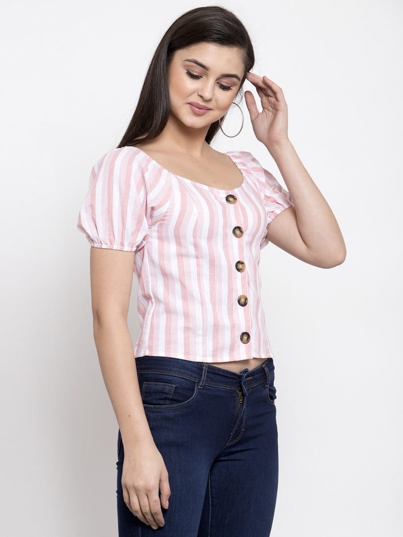 Women Striped Pink Boat Neck Top With Puffed Sleeve