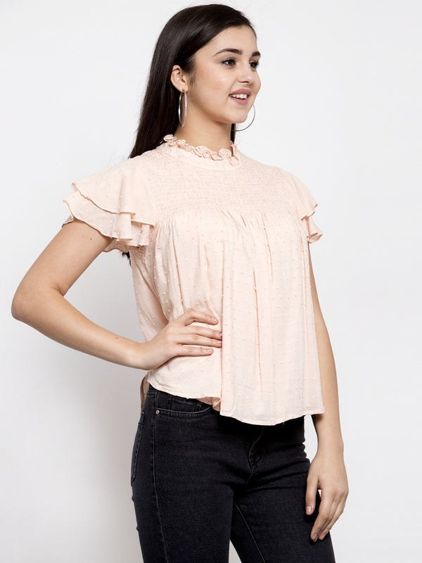 Women Solid Pink Fit And Flare Top With Smocked Details