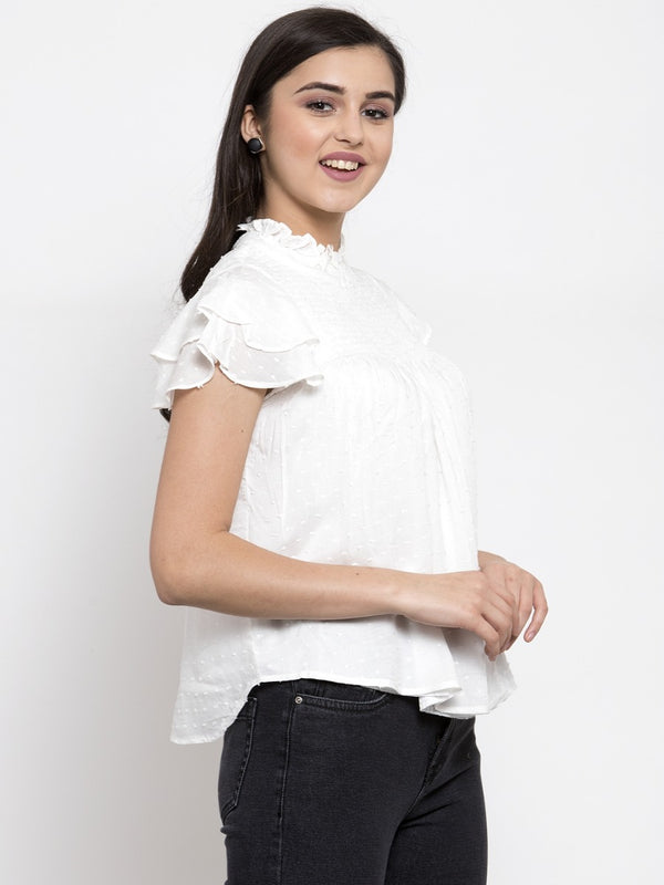 Women Solid White Fit And Flare Top With Smocked Details