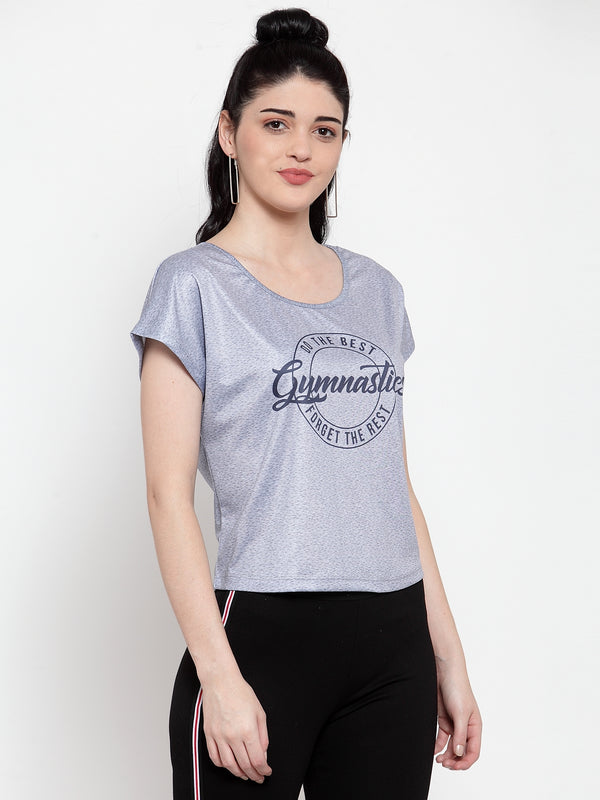 Women Steel Grey Polyester Printed Top