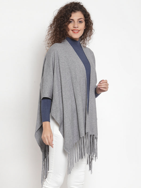 Women Solid Grey Shrug