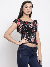 Women Printed Red Off-Shoulder Fit And Flare Top