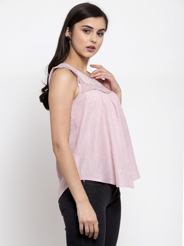 Women Solid Pink Round Neck Top With Crochet Lace And Embroidery