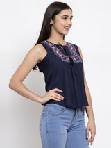 Women Embroidered Navy Blue Tie-Up Neck Top