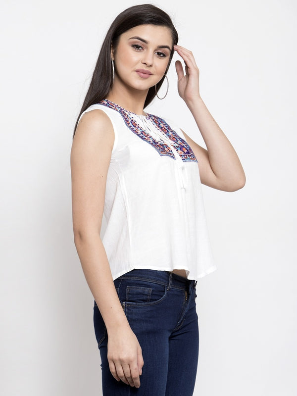 Women Embroidered White Tie-Up Neck Top