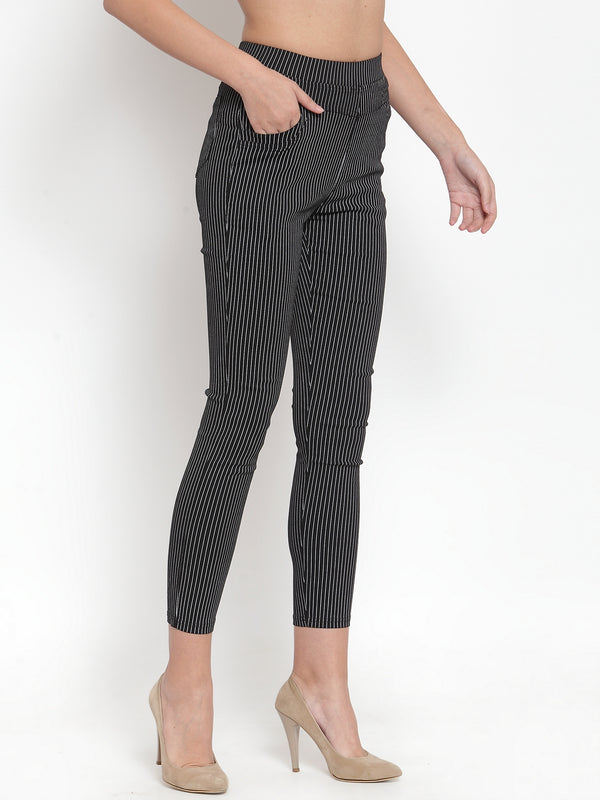 Women Black Striped Jegging