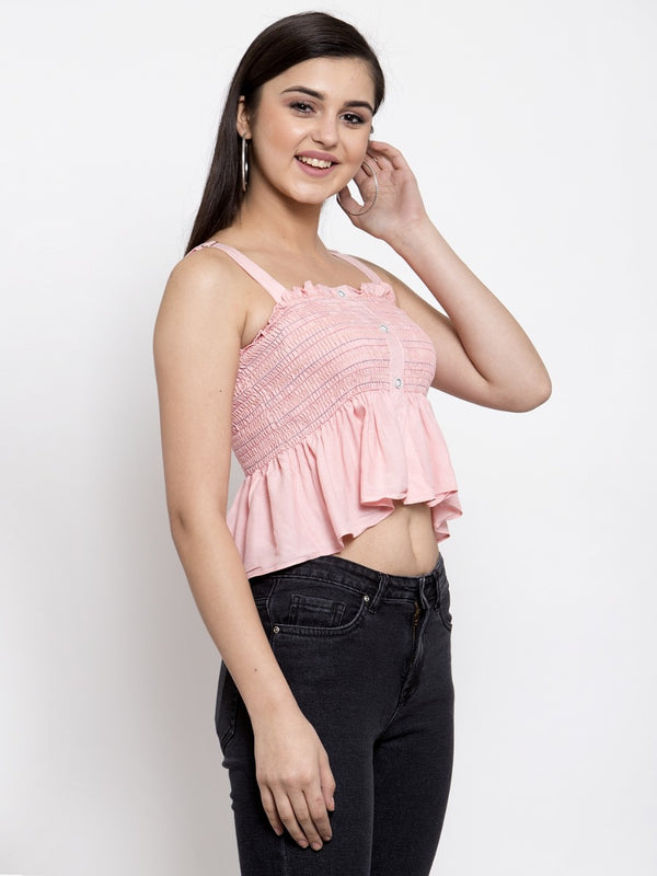Women Solid Pink Cropped Top With Shoulder Straps