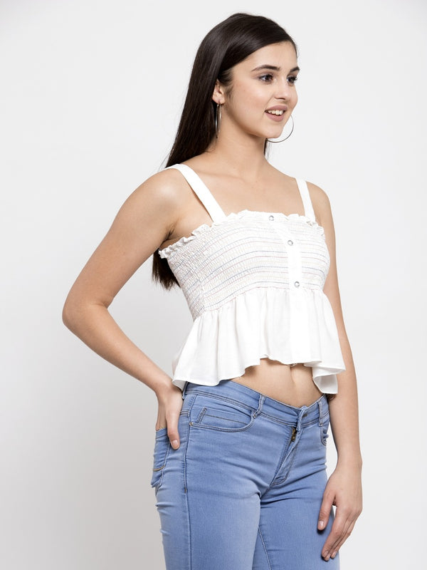 Women Solid White Cropped Top With Shoulder Straps