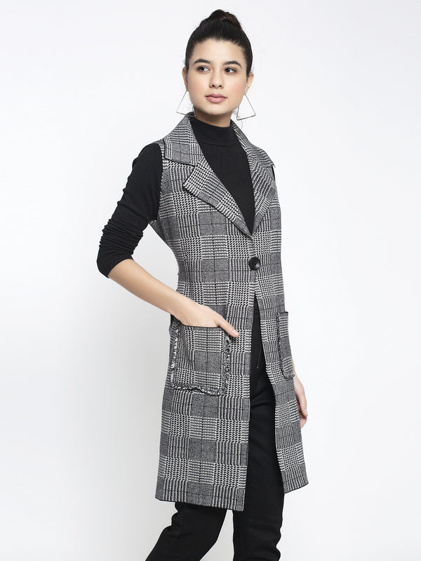 Women Black Collared Checked Coat