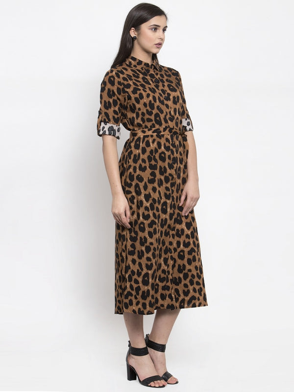 Women Animal Printed Shirt Collar Dress