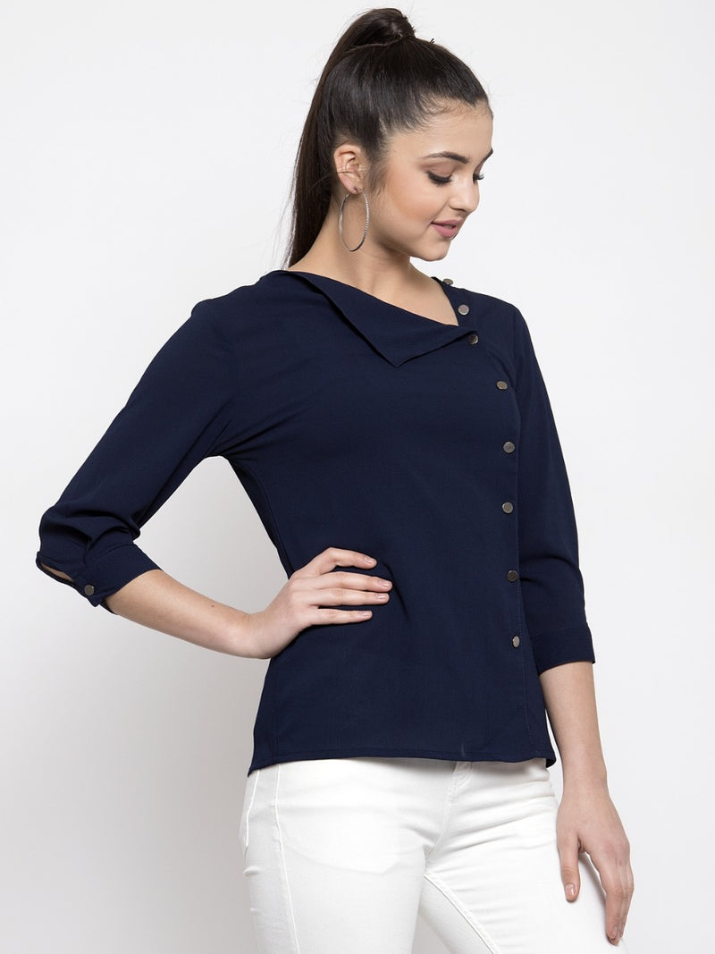Women Solid Navy Blue Side-Placket Top