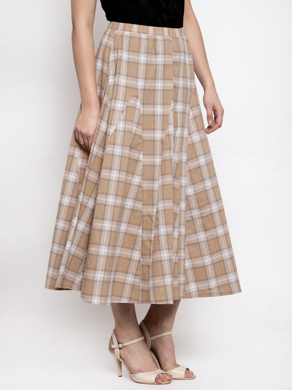 Women Khaki Plaid Long Checked Skirt