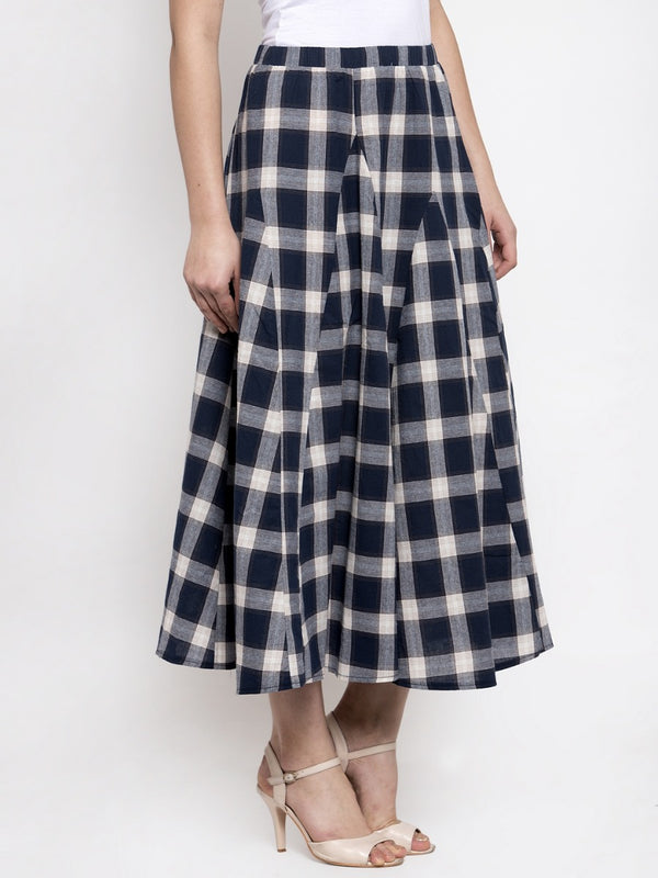 Women Navy Blue Plaid Long Checked Skirt