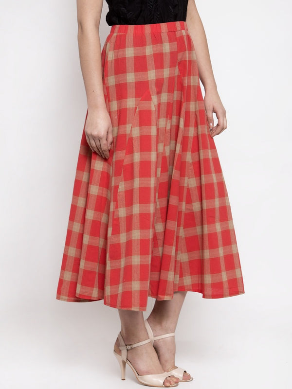 Women Red Plaid Long Checked Skirt