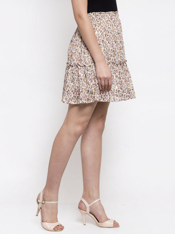 Women Cream Mini Skirt With Foil Print