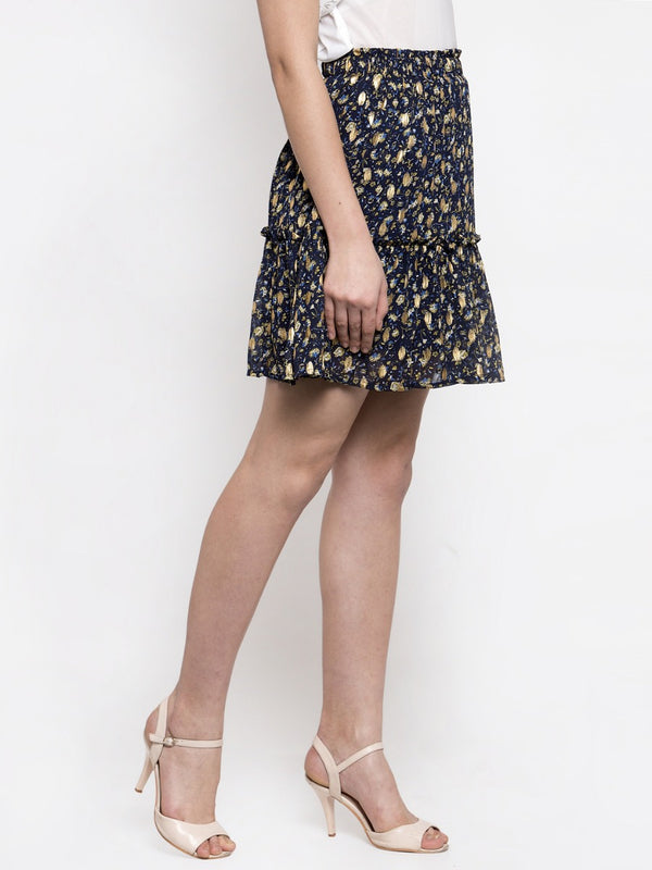 Women Navy Blue Mini Skirt With Foil Print
