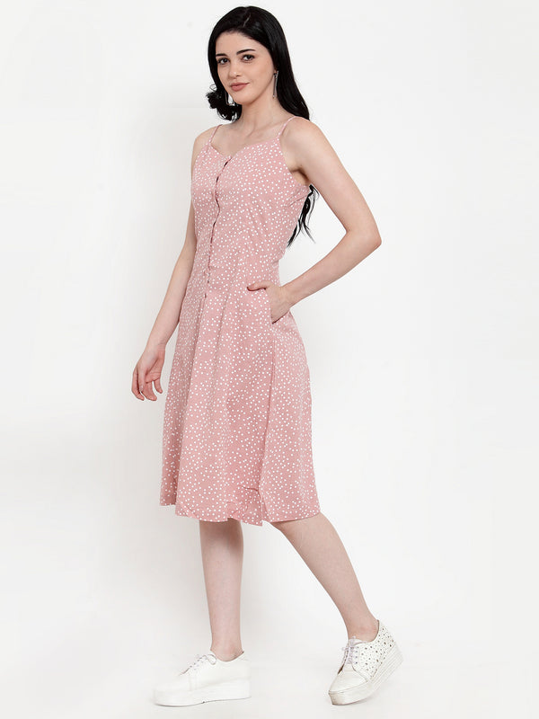 Women Pink Polyester Spagheti strap Polka Dots Dress