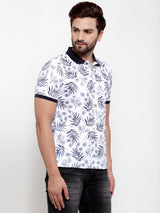 Mens White Shirt Collar Printed T-Shirt