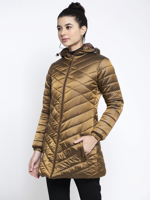 Women Gold Hooded Jacket