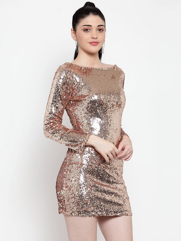 Women Gold Sequined Mini Dress