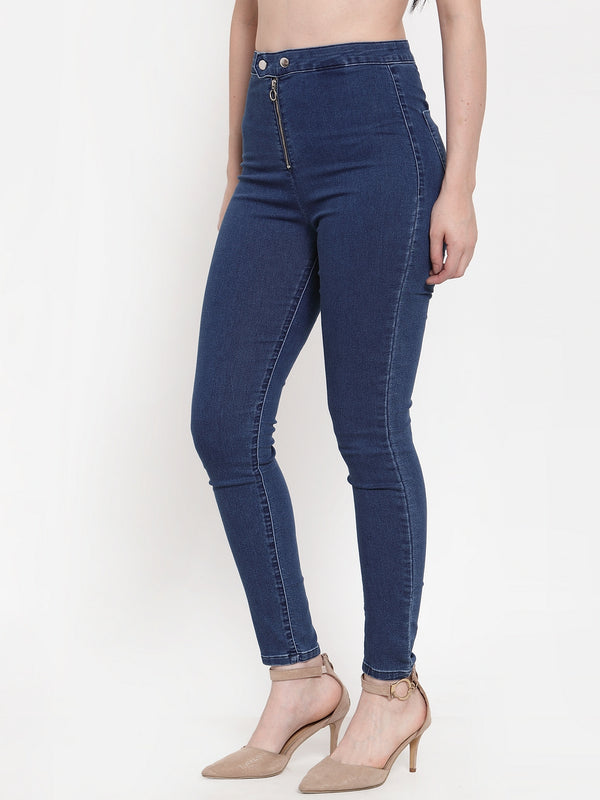 Women Blue Denim Solid Jegging