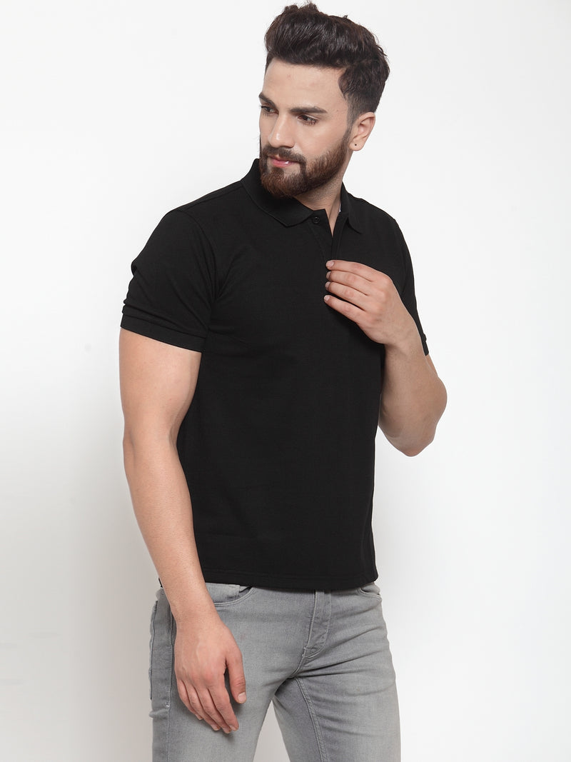 Mens Solid Black Collar Regular Fit Polo T-Shirt