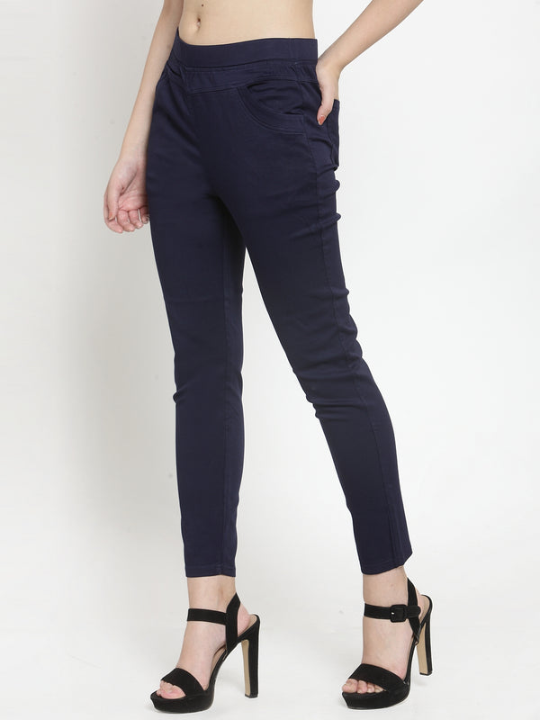 Women Plain Navy Blue Mid-Rise Jegging