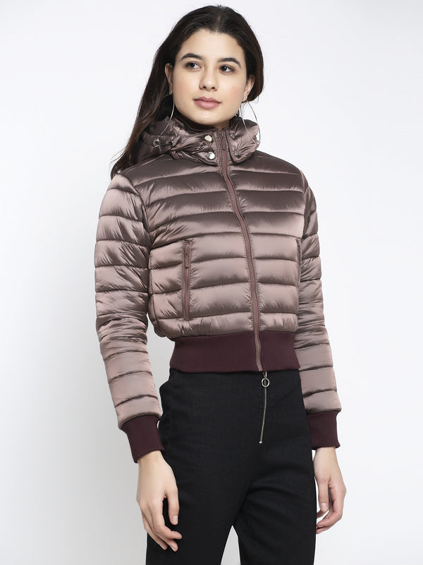 Women Brown Hooded Solid Jacket