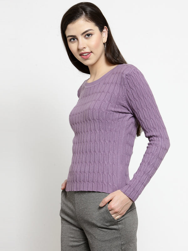 Women Purple Self Design Pullover Sweater